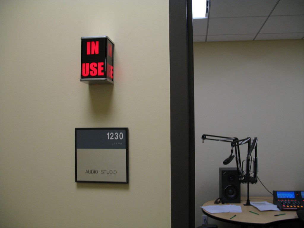 "With the new ""In Use"" tally light, you can see when the studio is in use without opening the door."