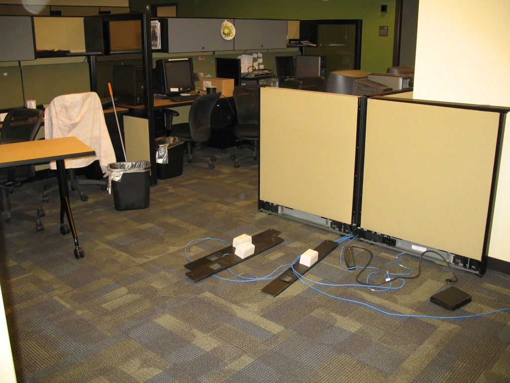 Convergence area with cubicles removed (the Ethernet wiring on the ground used to run through the cubicles).